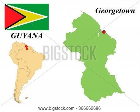 Cooperative Republic Of Guyana. The Capital Is Georgetown. Flag Of Guyana. Map Of The Continent Of S