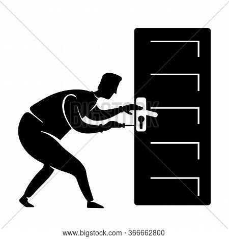 Handyman Fix Door Knob Black Silhouette Vector Illustration. Handyman Fixes Handle. Craftsman Standi