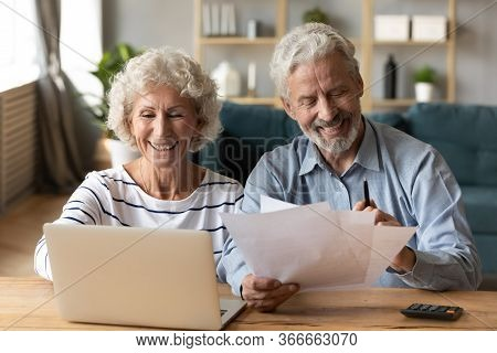 Happy Senior Married Couple Managing Family Budget.