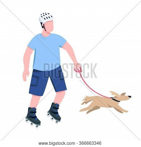 Roller Skater With Dog Flat Color Vector Faceless Character. Young Rollerblader Riding With Canine P