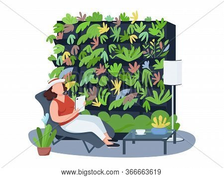 Houseplants, Home Coziness 2d Vector Web Banner, Poster. Female On Deck Chair Flat Characters On Car