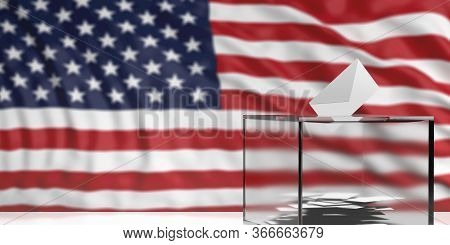 Us Of America Election. White Envelope In A Glass Ballot Box Slot Against Blur Usa Flag Background.