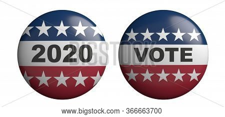 Vote On 2020 Us America Election Round Pin Badges Isolated Against White Background. 3D Illustration