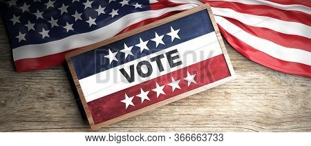 United States Flag Placed On Wooden Background. Blackboard In Frame With Copyspace. 3D Illustration
