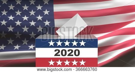 2020 Us Election. Ballot Box And Envelope On Usa Flag Background. 3D Illustration