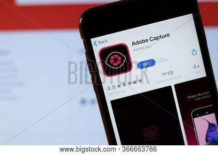 New York, Usa - 15 May 2020: Adobe Capture Mobile App Logo On Phone Screen, Close-up Icon, Illustrat