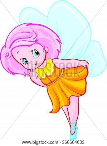 Little Fairy Girl With Wings Soars In The Air, Isolated Object On A White Background, Vector Illustr