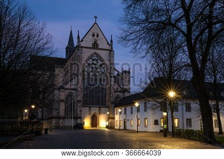 Odenthal, Germany - March 26, 2020: Panoramic Image Of The Altenberg Cathedral In Evening Light On M