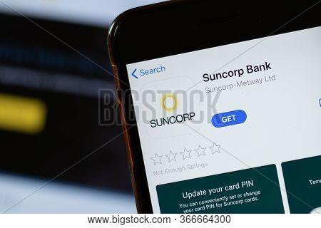 New York, Usa - 15 May 2020: Suncorp Bank Mobile App Logo On Phone Screen, Close-up Icon, Illustrati