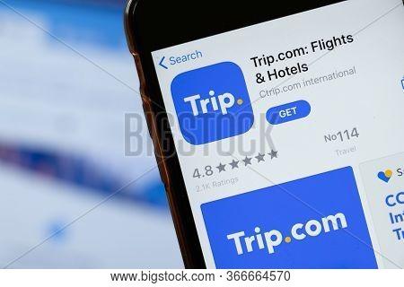 New York, Usa - 15 May 2020: Trip.com Mobile App Logo On Phone Screen, Close-up Icon, Illustrative E