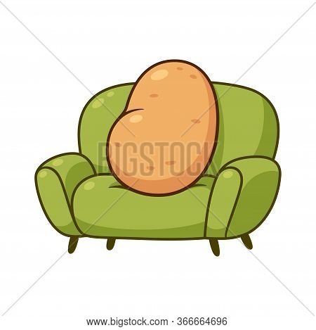 Couch Potato, Funny Metaphor. Cartoon Lazy Potato Sitting On Sofa, Vector Clip Art Illustration.