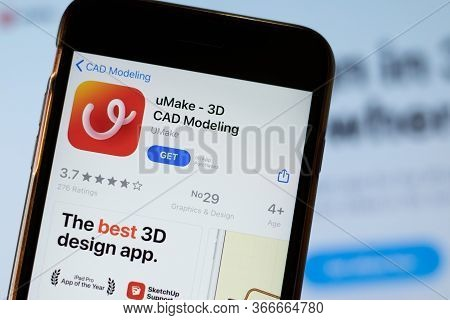 New York, Usa - 15 May 2020: Umake 3D Cad Modeling Mobile App Logo On Phone Screen, Close-up Icon, I