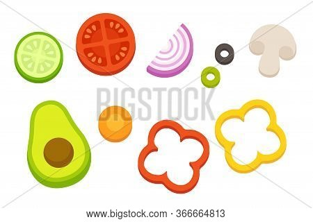 Cartoon Vegetable Set, Veggies Cut And Prepped For Salad Or Cooking. Simple Flat Design Food Icons V