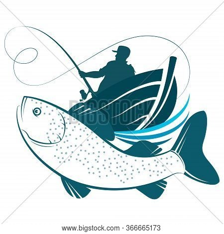 Fisherman With Fishing Rod In A Boat And Fish Catch