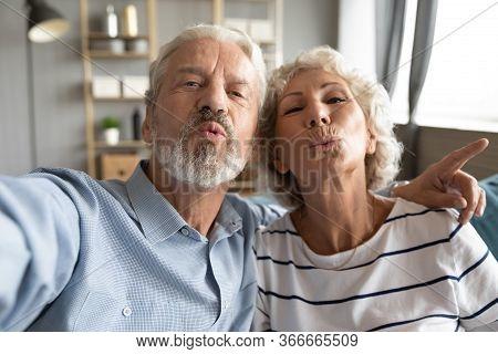 Web Camera View Childish Mature Married Family Couple Having Fun.