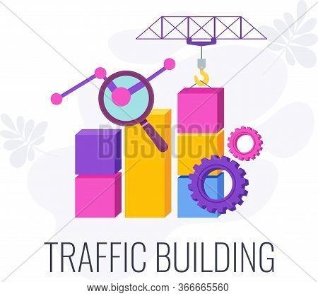 Web Traffic. Internet Traffic Building Infographic Pictogram. Digital Marketing Strategy. Website Pr