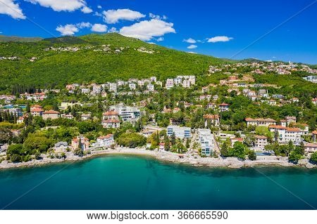 Croatia, Beautiful Coastline, Opatija Riviera On Adriatic Coast, Aerial Panoramic View In Kvarner Ba