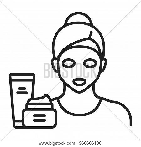 Face Mask On A Young Girl Black Line Icon. Skin Care. Moisturizing And Nourishing Skin. Isolated Vec