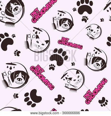 Pet Grooming And Washing Seamless Pattern Background