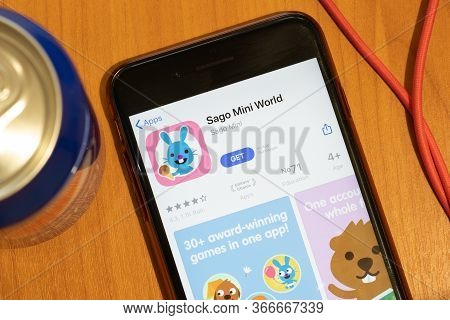 New York, Usa - 15 May 2020: Sago Mini World Mobile App Logo On Phone Screen, Close-up Icon, Illustr