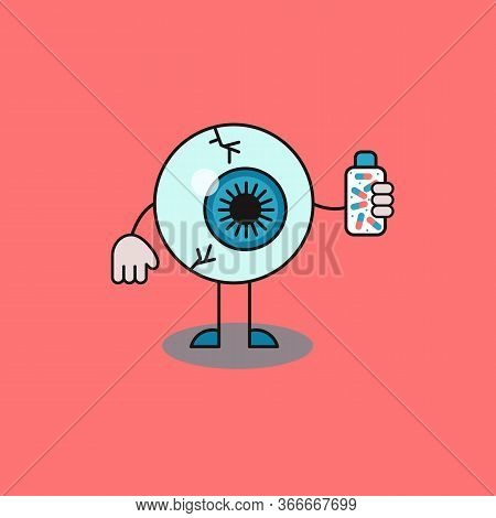Eye Holding Bottle Of Pills In His Hand. Medical Support For Eye Health, Dietary Supplements For Goo