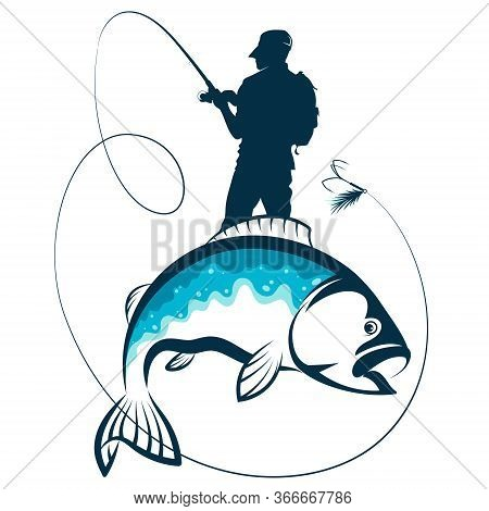 Fisherman With Fishing Rod Caught A Fish Silhouette