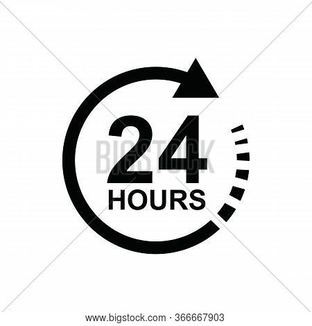 Open 24 Hours Icon. Service Around The Clock 24 Hours A Day. Vector Stock