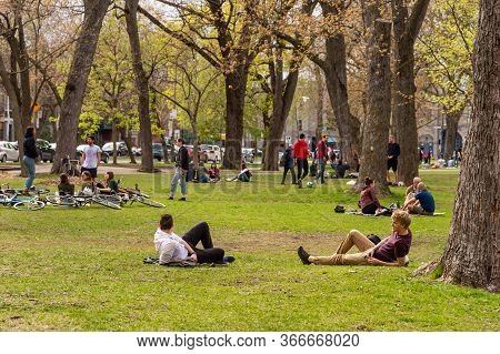 Montreal, Ca - 16 May 2020: People Gathering In Lafontaine Park During Coronavirus Pandemic