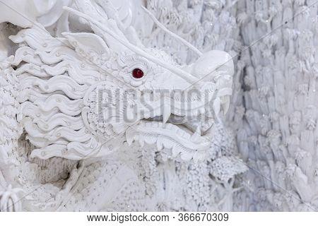 Beautiful White Dragon Statue At Huay Pla Kang Temple, Chiang Rai, Thailand.