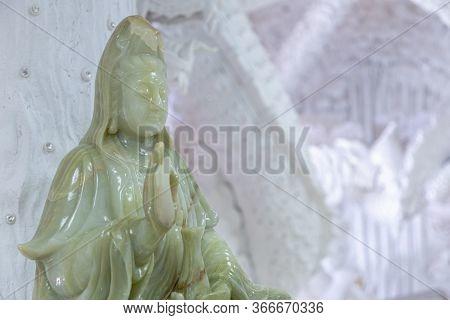 Beautiful Marble Statue Of Guan Yin At Huay Pla Kang Temple, Chiang Rai, Thailand.