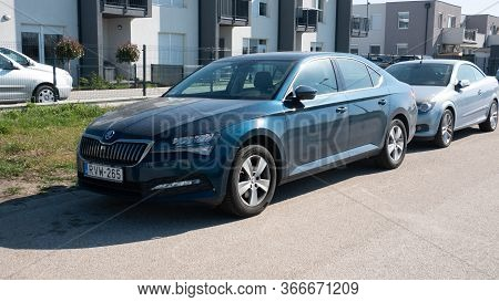 Gyor Hungary 04 07 2020: Manufactured Since 2015, The Third-generation Skoda Superb Is Parked In Fro