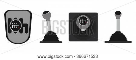Gearbox Of Two Types.car Gearbox Icon Set. Vector Illustration.