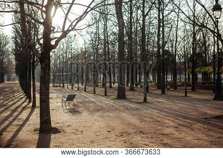 Lonely Empty Chair In The Tuileries Park. Quarantine In Paris.