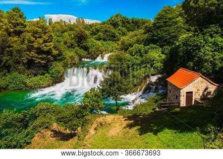 Breathtaking Mediterranean Touristic Place With Waterfalls In The Krka National Park, Near Skradin T