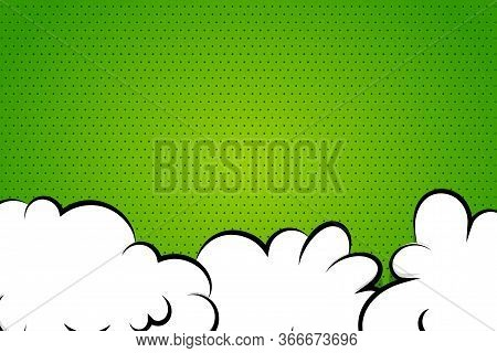 Comic Book Cartoon Speech Bubble For Text. Cartoon Puff Cloud Green Background For Text Template. Po