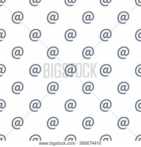 E-mail At Mail Symbol Seamless Pattern. Email Message Sign. Stock Vector Illustration Isolated On Wh