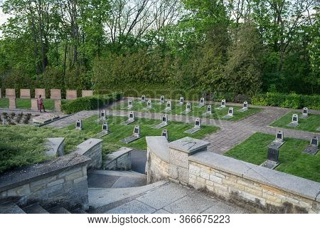 Seelow, Germany - May 09, 2020: Memorial Cemetery Of Soviet Soldiers Who Died At The Site Of The Bat