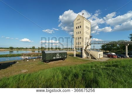 Gross Neuendorf, Germany - May 09, 2020: Old Merchant Port On The Oder River On The Border With Pola