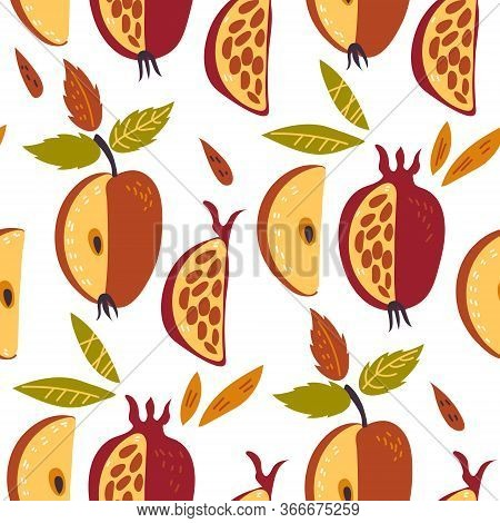 Seamless Pattern With Apples And Pomegranate Of Rosh Hashana Vector Illustration.