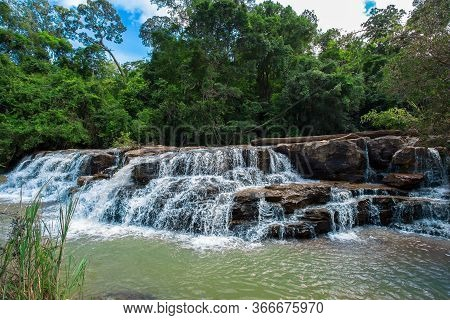 Beautiful Waterfall In Deep Forest,thee Lor Su Waterfall Is In The Care Area Of Umphang Wildlife San