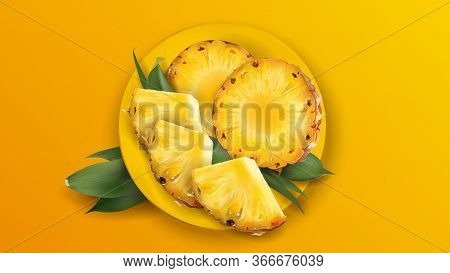 Sliced Juicy Pineapple On A Yellow Plate.
