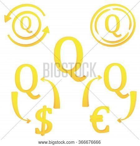 3d Guatemalan Quetzal Currency Set Symbol Icon Vector Illustration On A White Background