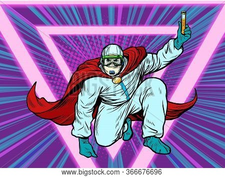 Superhero Doctor Man With A Vaccine Medicine In Protective Suit, Epidemic. Chemical Biological Or Ra