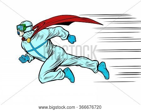 Runs To Help Superhero Doctor Man In Protective Suit, Epidemic. Chemical Biological Or Radiation Con
