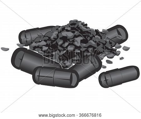 Charcoal Capsules And Flakes Vector Illustration Isolated On A White Background
