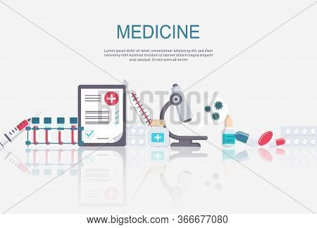 Medicine vector illustration. Pharmacy background, pharmacy desing, pharmacy templates. Medicine, pharmacy, hospital set of drugs with labels. Medication, pharmaceutics concept. Different medical pills and bottles.. Medicine and healthcare banner, poster