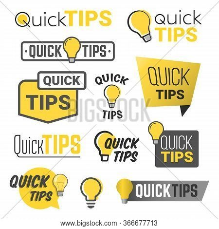 Tricks And Quick Tips Solution Flat Labels Collection. Tricks Text And Helpful Advices Quick Tips Ve