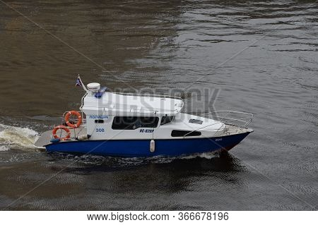 Moscow, Russia - May 9, 2020:police Patrol Boat Ks-820r Of Marine Units Of The Russian Guard On The