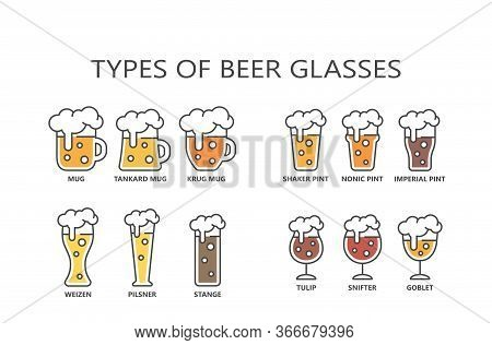 Beer Glasses Types Colorful Cartoon With Editable Stroke. Line Mug, Pint, Pilsner Glass Vector Icon