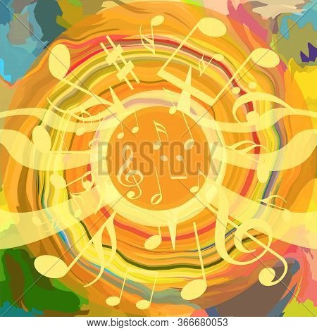 Hot Shining Bright Loud Music Background With Musical Notes